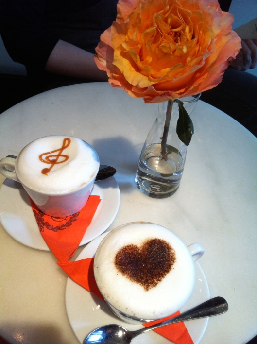 Cappuccino Caramel (music) and regular Cappuccino (heart)